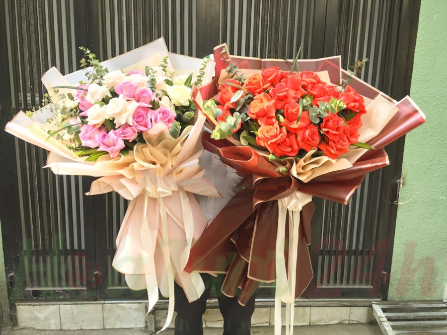 cách bó hoa hồng bó tròn đẹp
