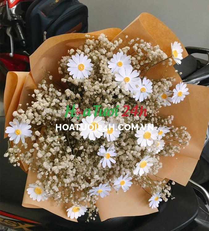 chúc mừng thăng chức bằng hoa cúc trắng